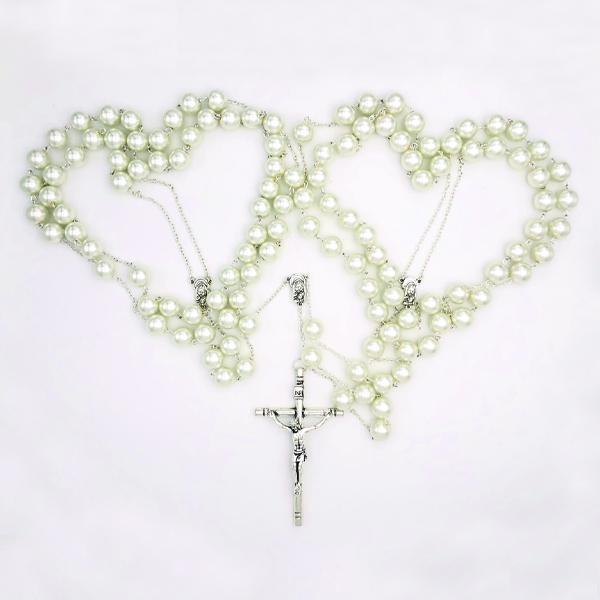 Large Imitation Pearl and Silver-tone Wedding Lasso Rosary