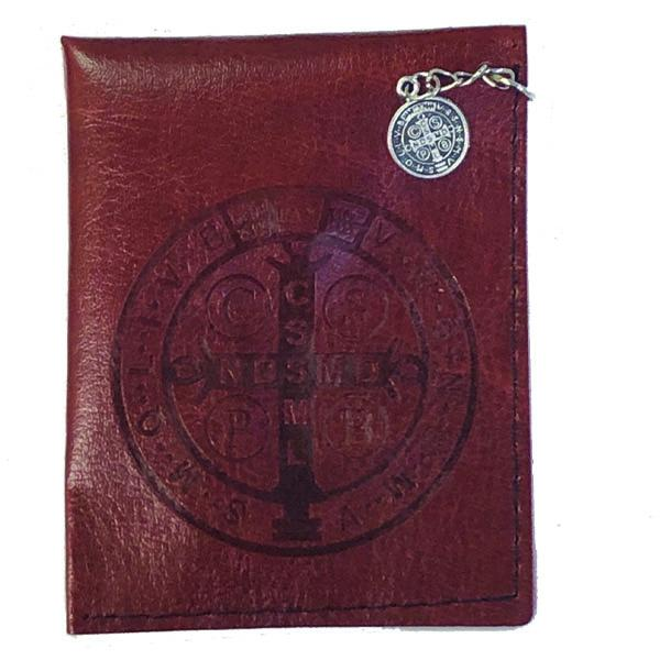 Brown Saint Benedict Leather Rosary Pouch with Saint Benedict Medal