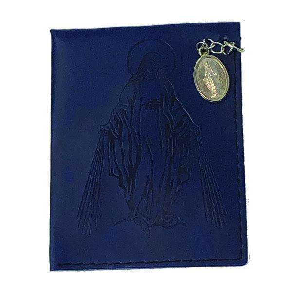 Dark Blue Lady of Grace Leather Rosary Pouch with Miraculous Medal