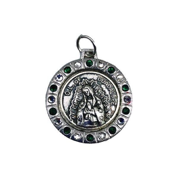 Round Silver-tone Lady of Guadalupe Medal with Green/Clear Crystals