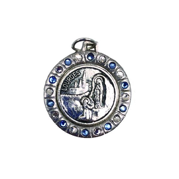 Round Silver-tone Lady of Lourdes Medal with Light Blue/Clear Crystals