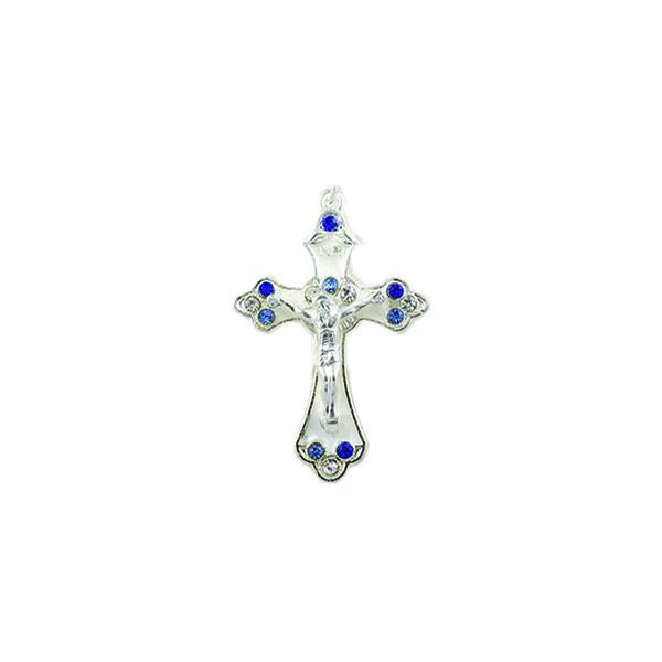 Silver-tone Pendant Cross with White Enamel and Blue Crystals