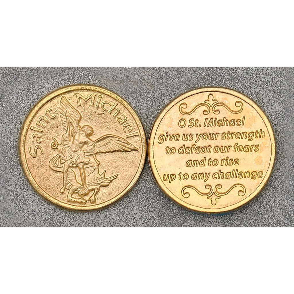 Gold Tone Token - Saint Michael