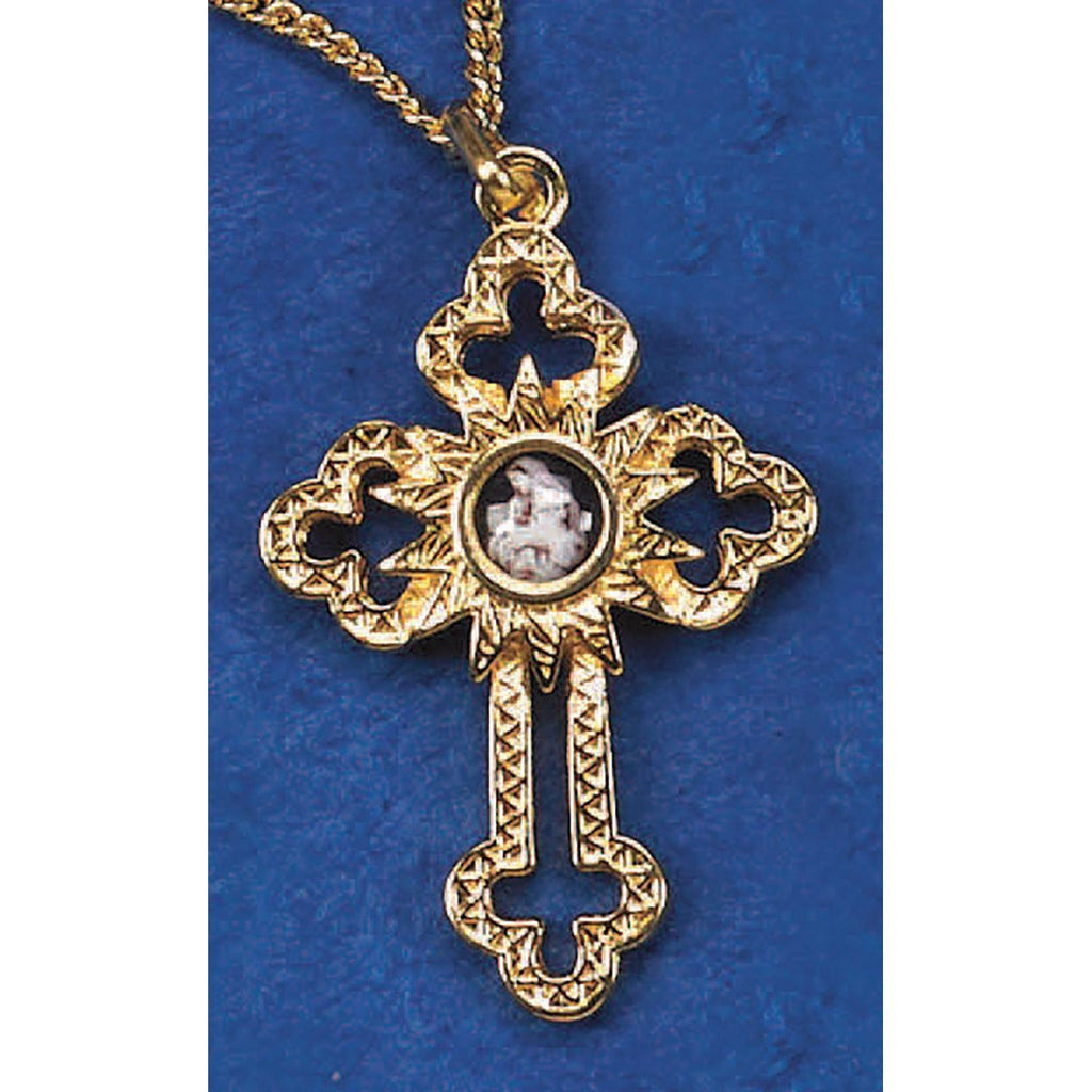 Gold Tone Cut Out Cross with L'innocence Center