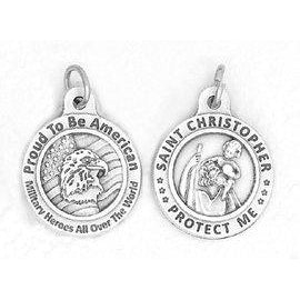 Saint Christopher/Us Military 3/4 inch Medal - 4 Options