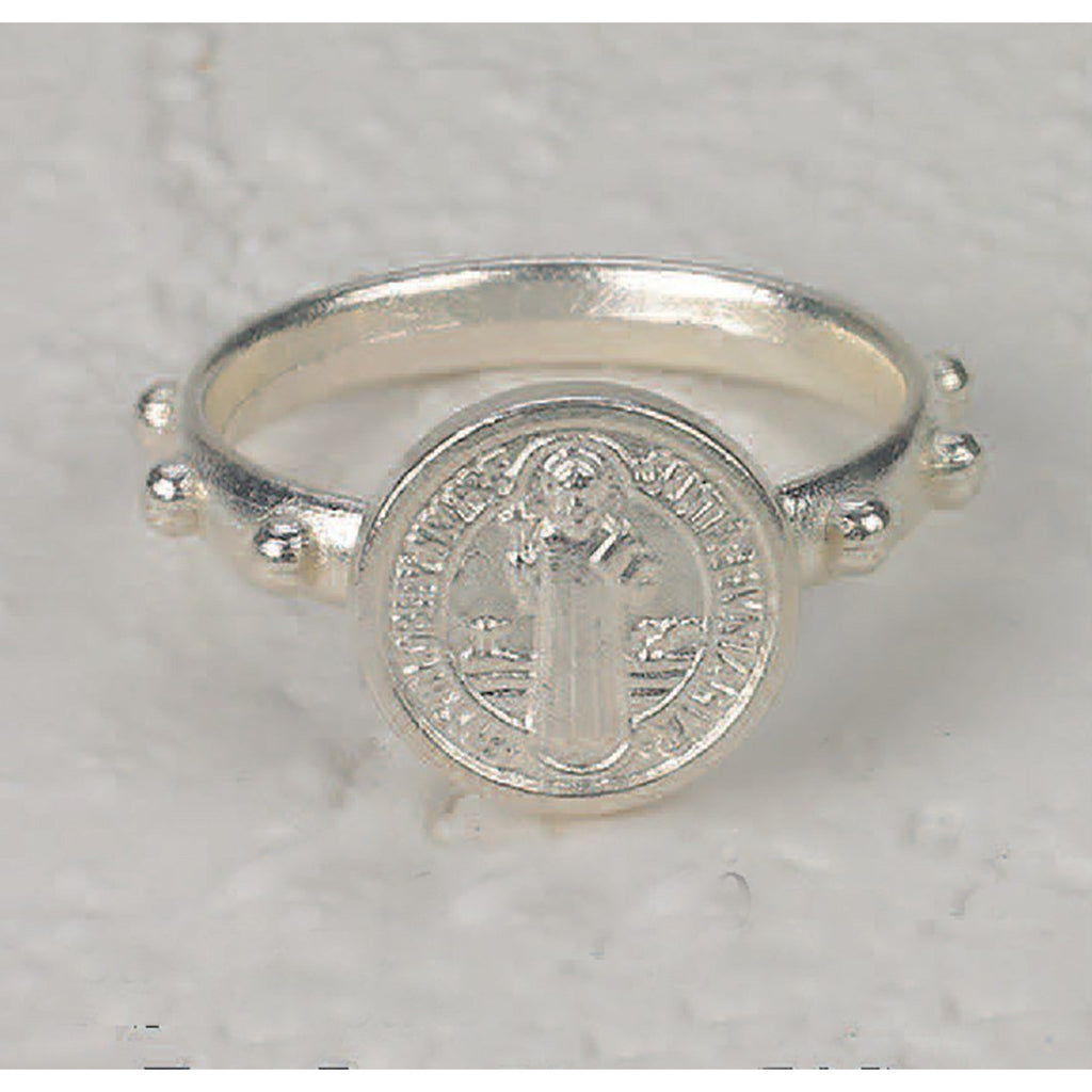 Saint Benedict Rosary Ring - Silver Tone - 3 Sizes - Pack of 25