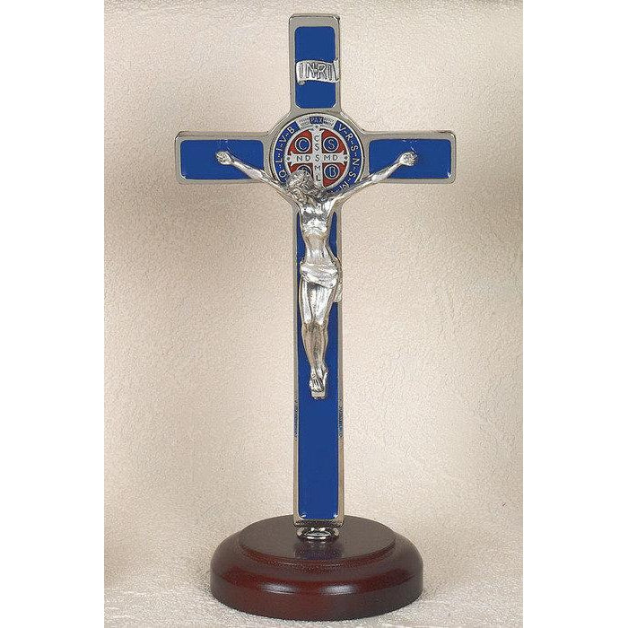 Saint Benedict Blue Enameled Cross - Enameled Medal - On Base