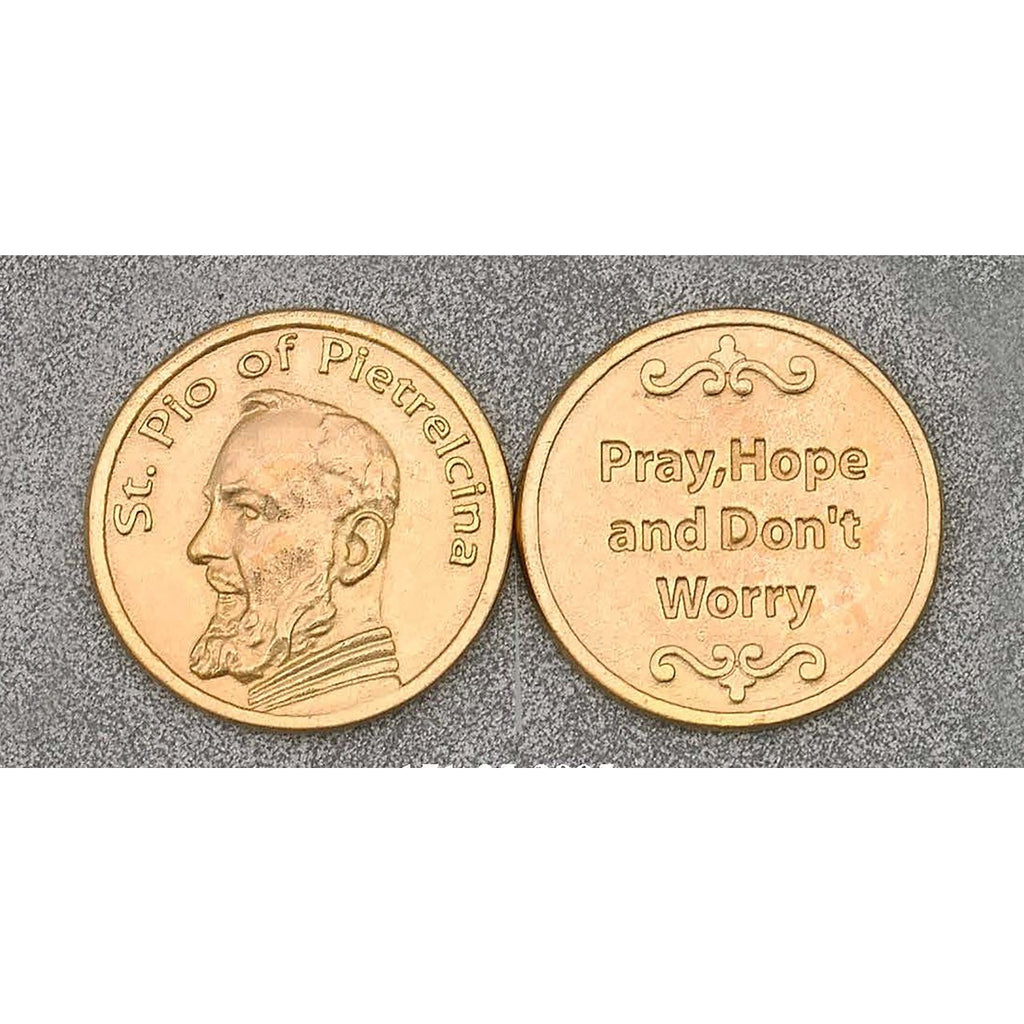 Gold Tone Token - Saint Pio