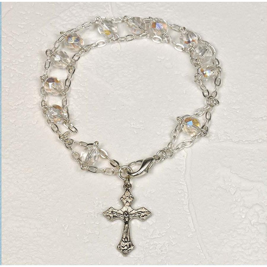 7 mm Clear - Ladder Rosary Bracelet - Pack of 4