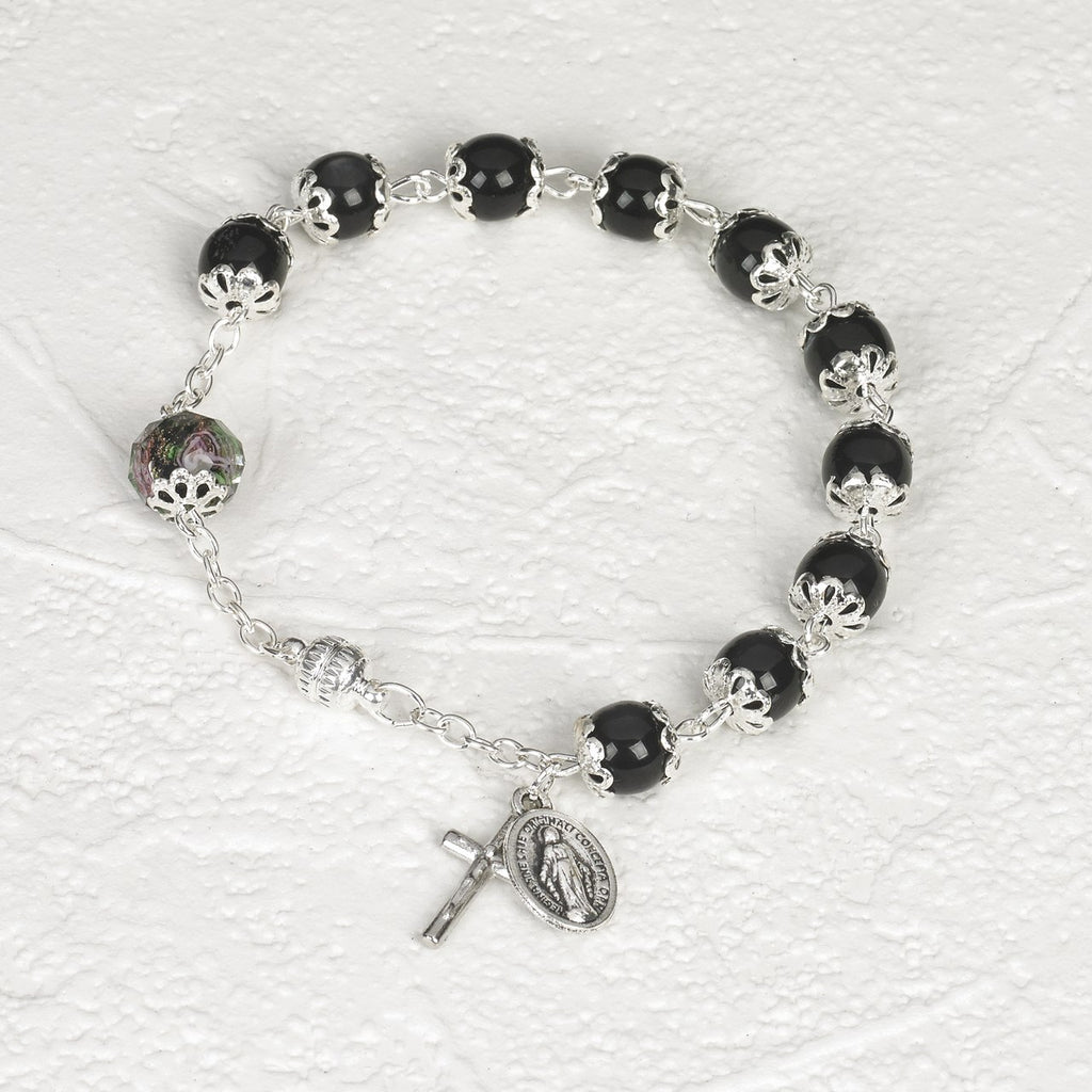 Black Cats Eye - Italian Stretch Rosary Bracelet - Pack of 4