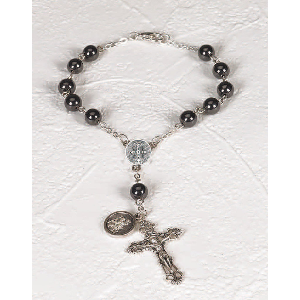 Traditional Saint Benedict Hematite Auto Rosary - Pack of 3