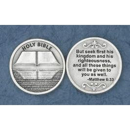 Christian Token - Holy Bible - Seek First His Kingdom