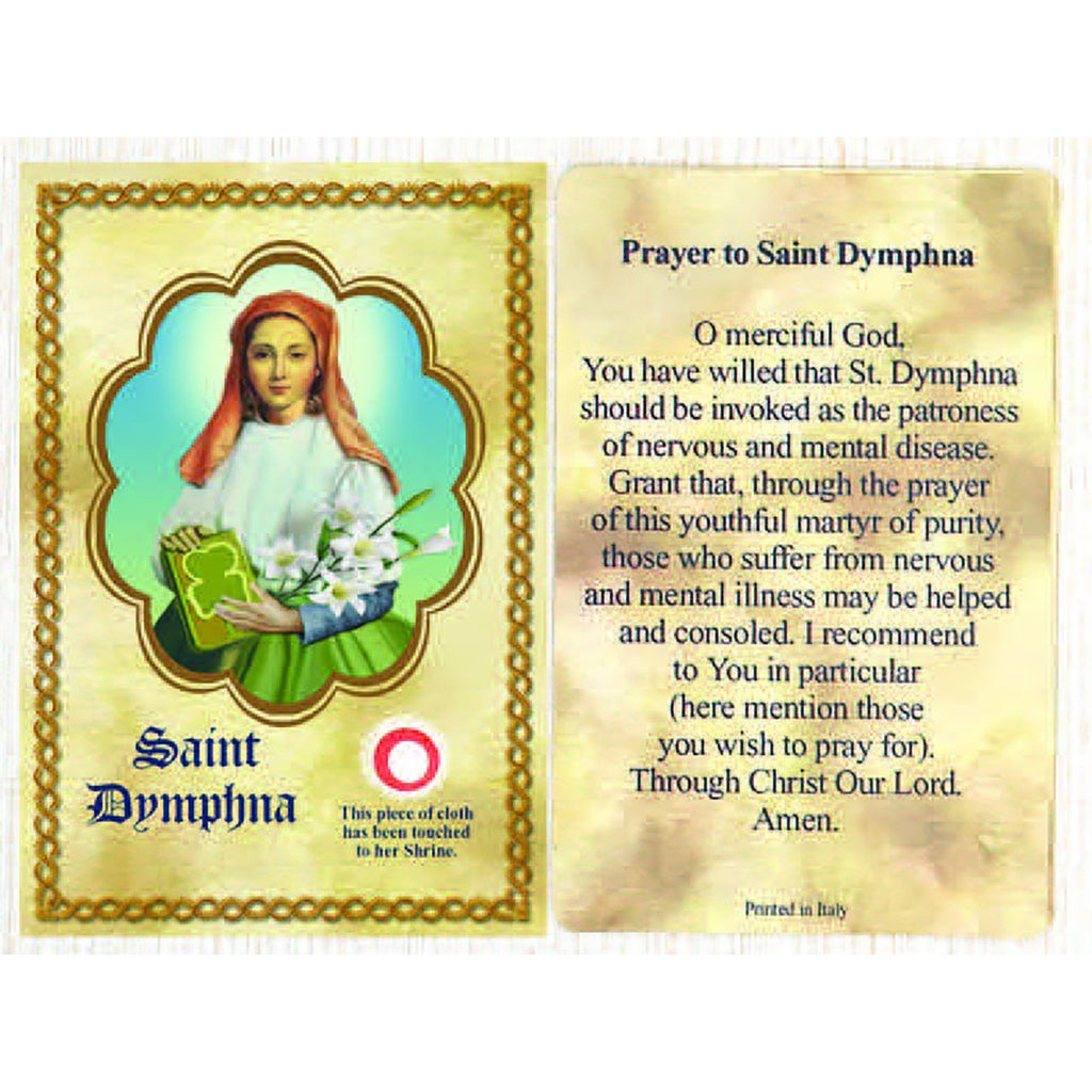 Saint Dymphna Relic Card - Pack of 25