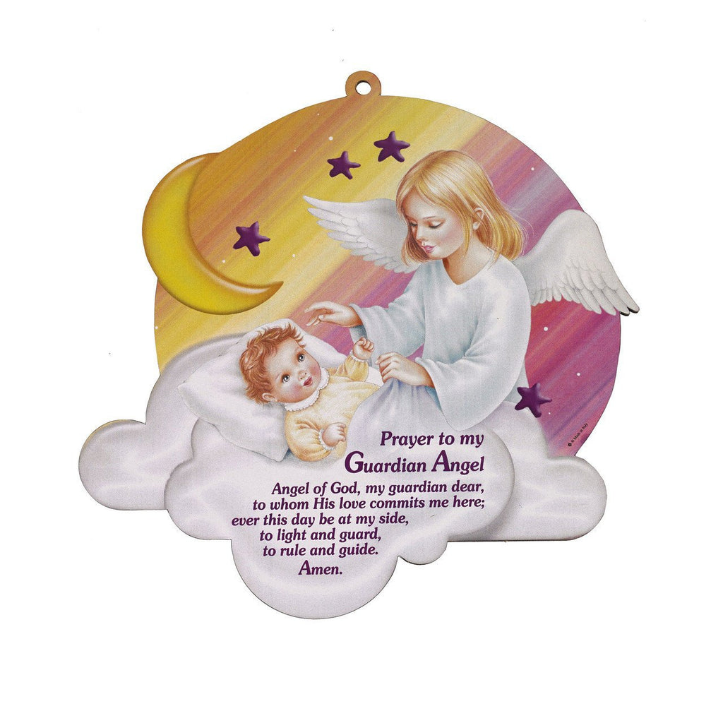 Wooden Wall Plaque - Guardian Angel - Pink - Large