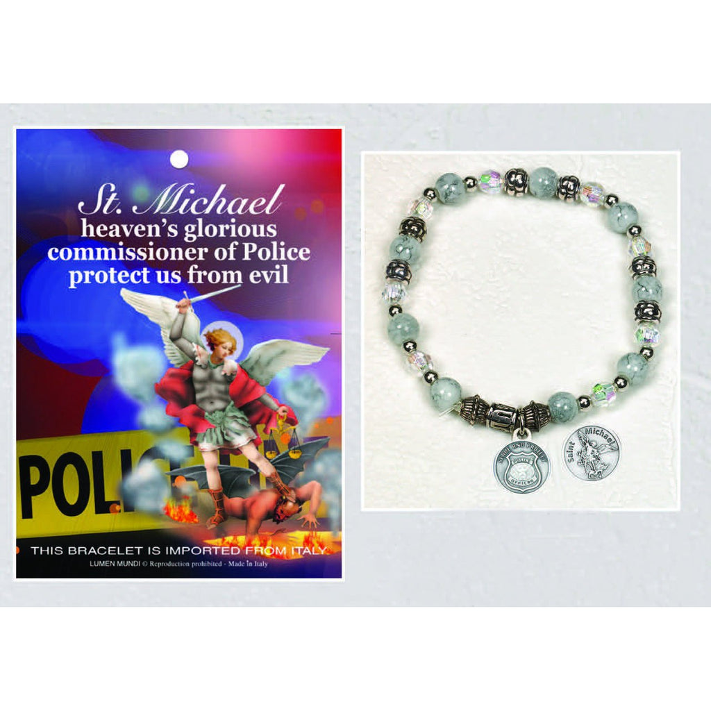 Police / St Michael - Italian Stretch Bracelet with Prayer Card - Pack of 4