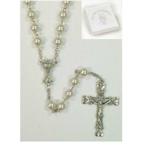 First Communion Rosary with Chalice Center and Heart Crucifix
