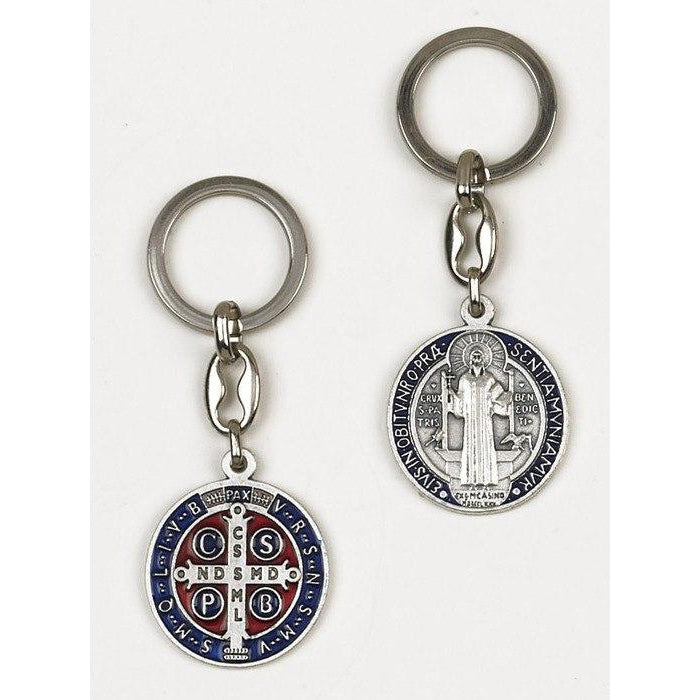 Saint Benedict Dark Blue Enameled - Token Keychain - Pack of 6