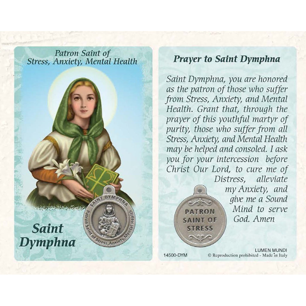 Healing Saint - Saint Dymphna Card with Medal