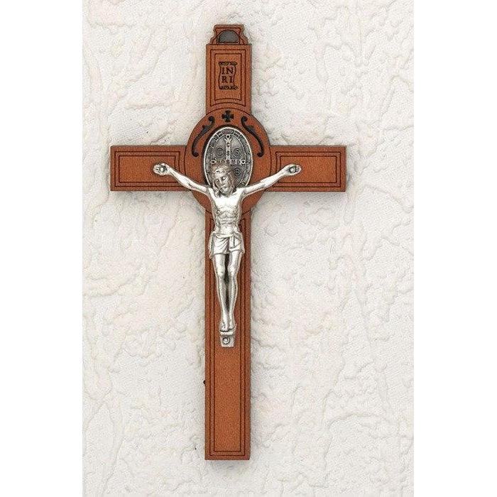 Saint Benedict Wood Wall Cross - Silver Tone Medal