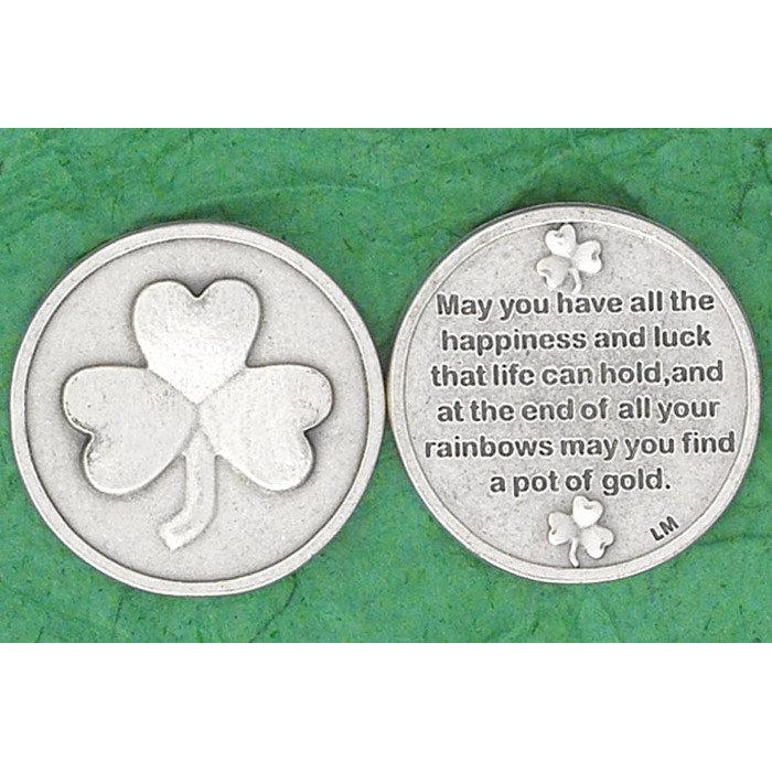 Irish token - Shamrock - May you have all the happiness and luck - Pack of 25