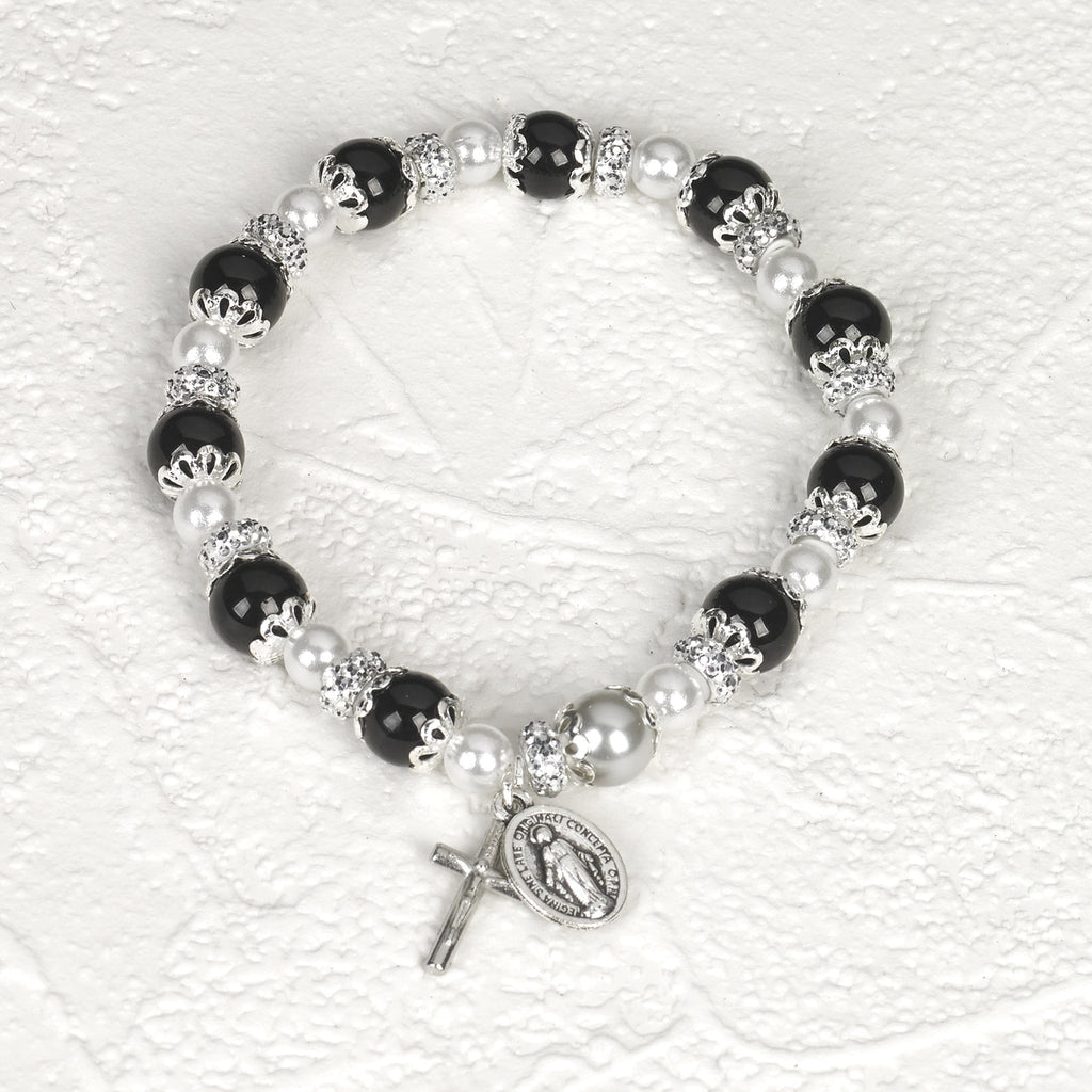 Black Rosary Bracelet with Pearl - Pack of 4