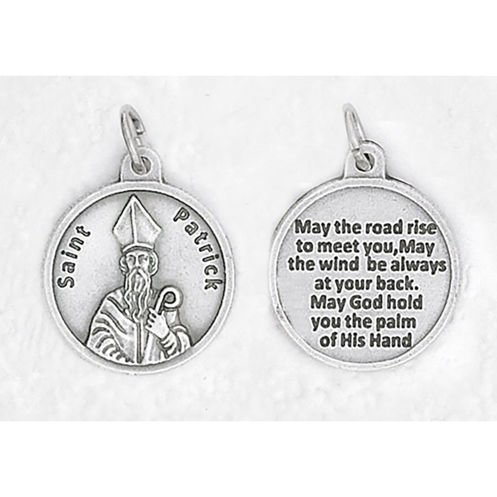 Saint Patrick Silver Tone Round Medal - 4 Options