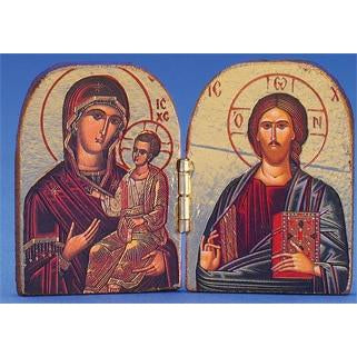 Virgin Mary the Healing  / Pantocrator Printed Gold Foil Diptych 2-3/4 x 2 inch