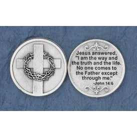 Christian Token - Jesus Answered - Cross with Thorns