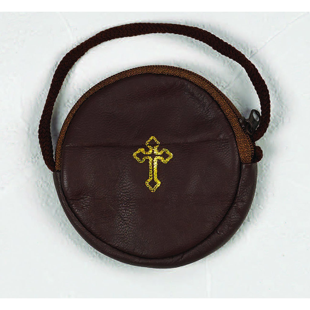 Leather Rosary Case/Burse with cord - Pack of 6 -  Available in 3 Colors