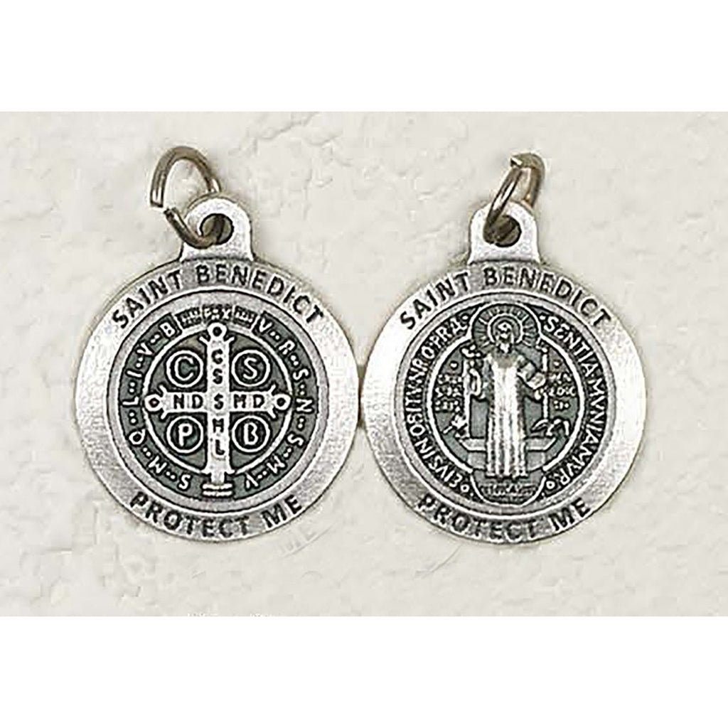 Premium Saint Benedict Double Sided Round Silver Tone Medal - 4 Options