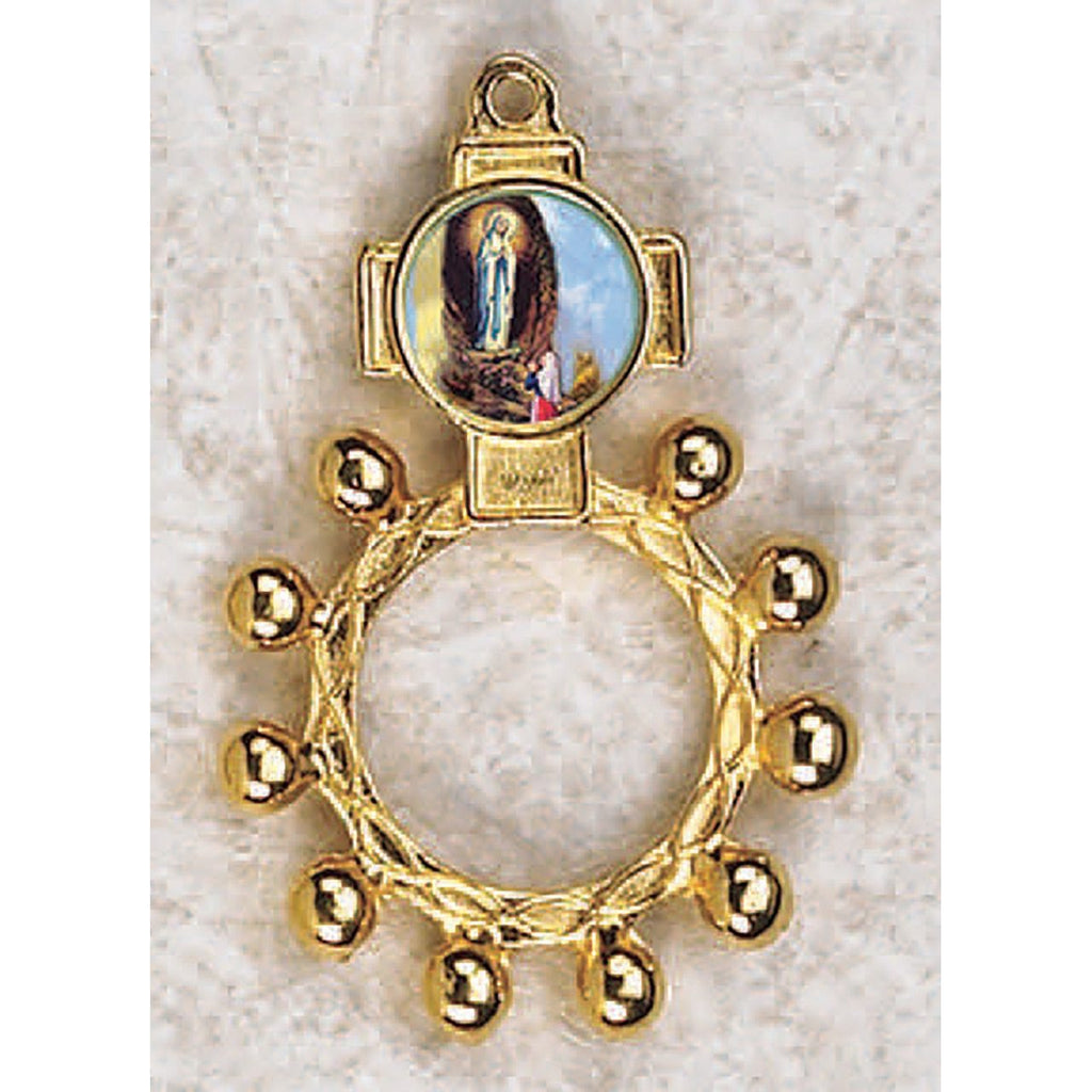 Lady of Lourdes - Finger Rosary - Graphic Gold Tone