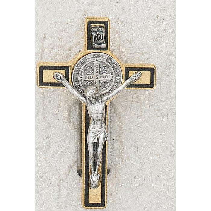 Saint Benedict - Gold Tone Crucifix - Visor Clip - Black Enamel - Pack of 3
