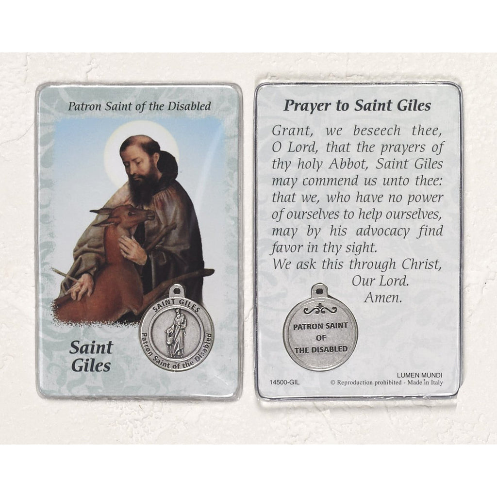Healing Saint - St Giles Card with Medal