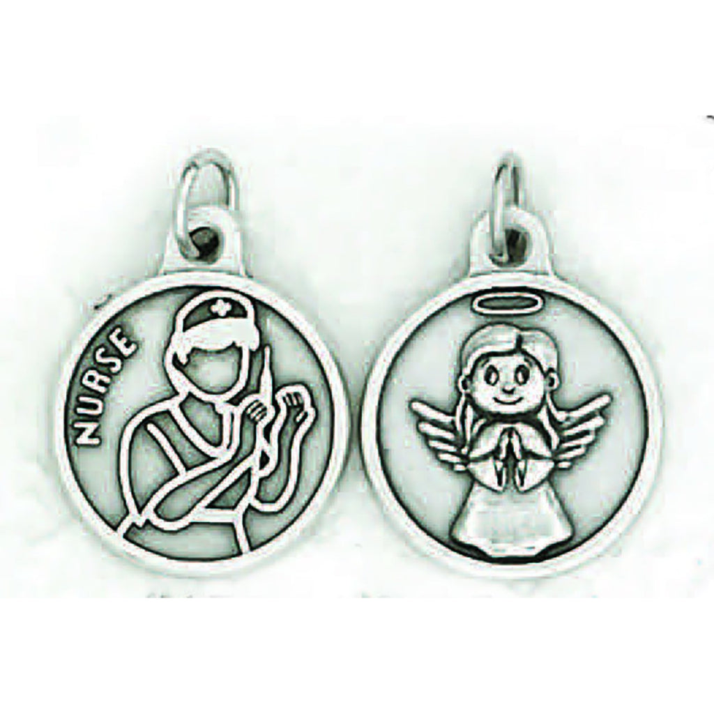 Silver tone Nurse/Angel Double Sided Medal - 4 Options