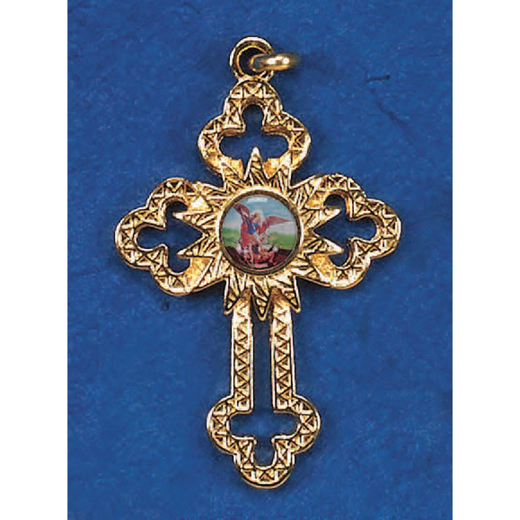 Gold Tone Cut Out Cross with St Michael Center