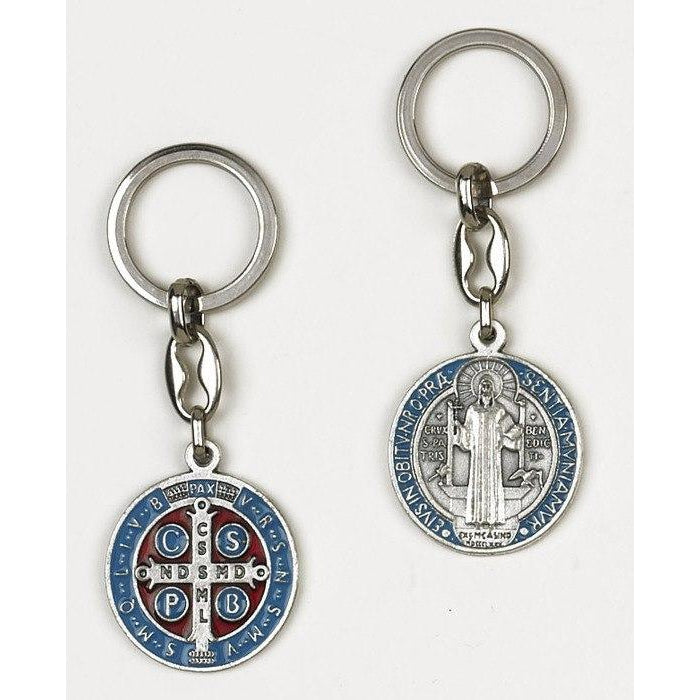 Saint Benedict Light Blue Enameled Token Keychain - Pack of 6