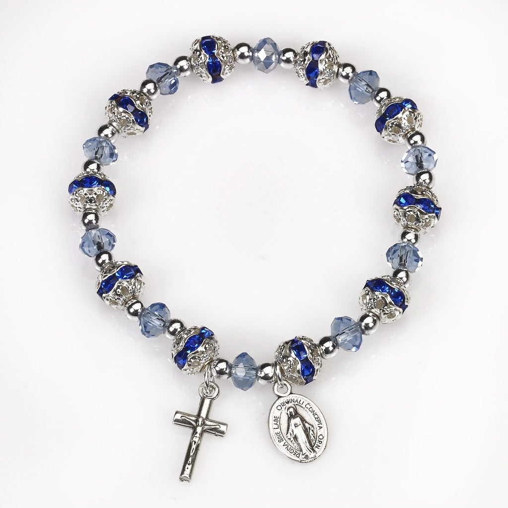 Blue Crystal Stretch Rosary Bracelet - Pack of 4