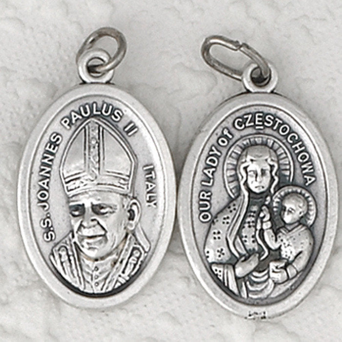 Saint John Paul II/Lady of Czetochowa Double Sided Medal - 4 Options