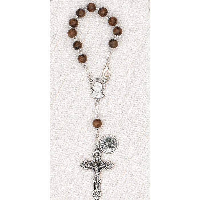 St Christopher Auto Rosary - Wood - Pack of 3