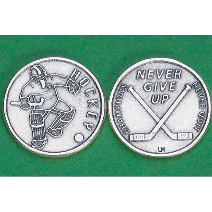 Sports Token with Hockey Player- Never Give Up, Champions Never Quit.