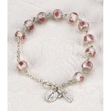 White Crystal Rosary Bracelet with Pink Rose