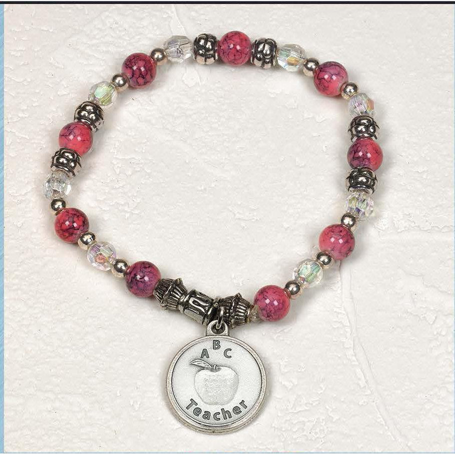 Teacher Appreciation - Italian Stretch Bracelet with Prayer Card - Pack of 4