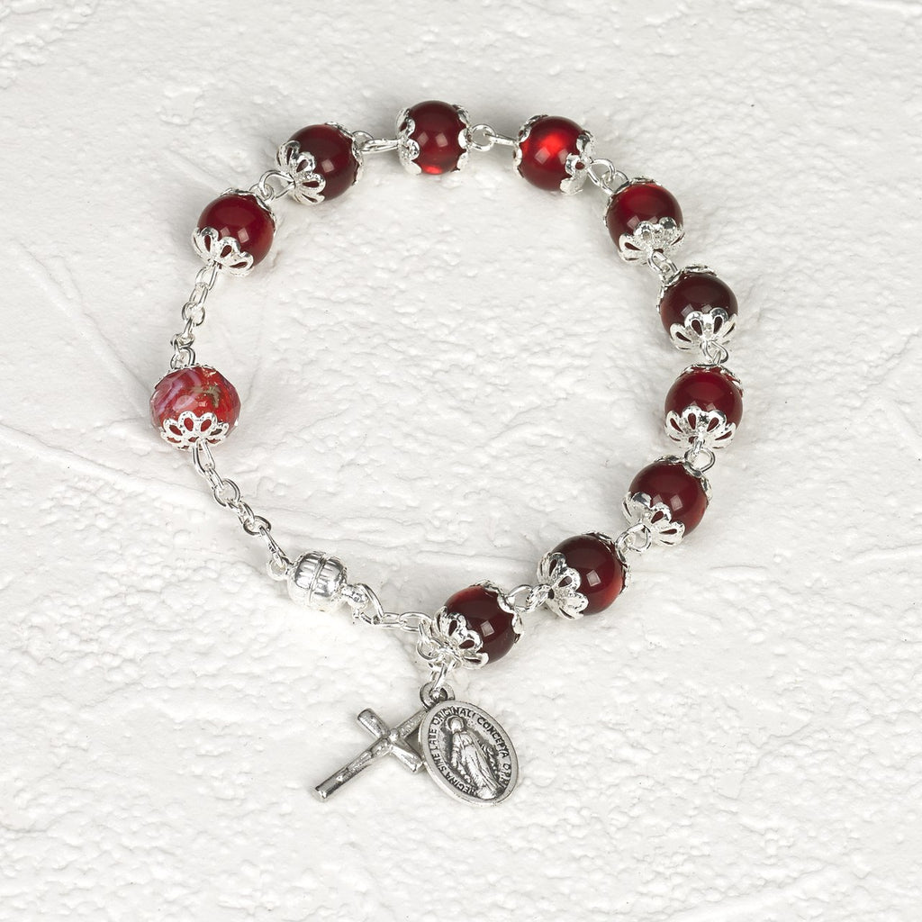 Red Cats Eye - Italian Stretch Rosary Bracelet - Pack of 4