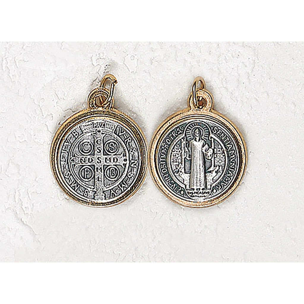 Saint Benedict Two Tone Three Piece Medal - 12 Options