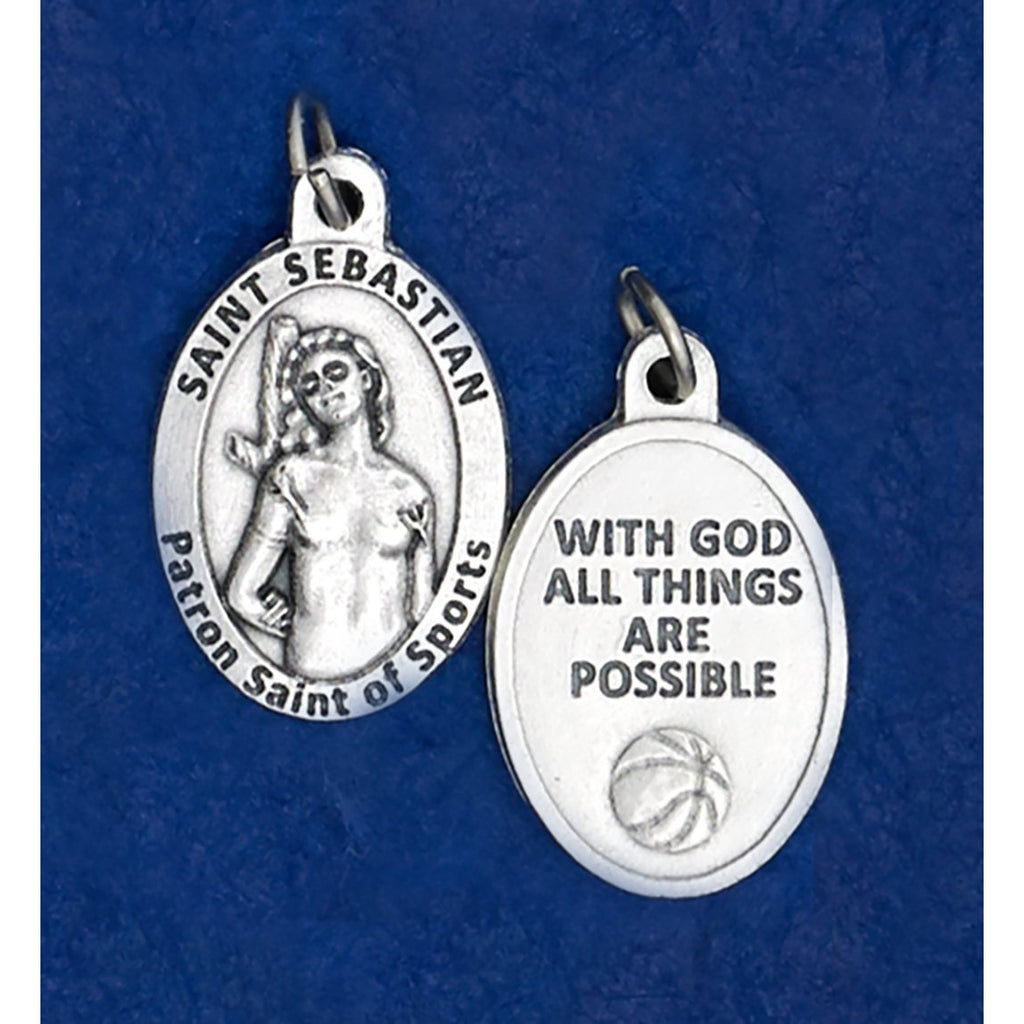 Saint Sebastian Oval Sports Medal - Basketball - 4 Options