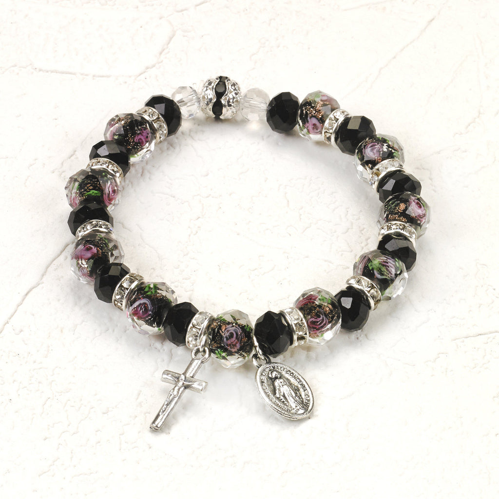 Black and Rose Genuine Crystal Stretch Bracelet