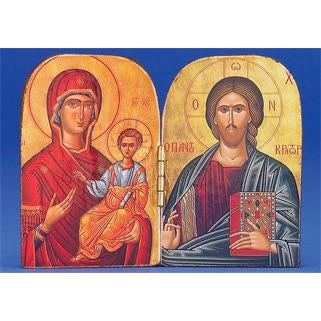 Pantocrator / Virgin Mary the Healing - Printed Foil Diptych 3-3/4 x 2-3/4 inch
