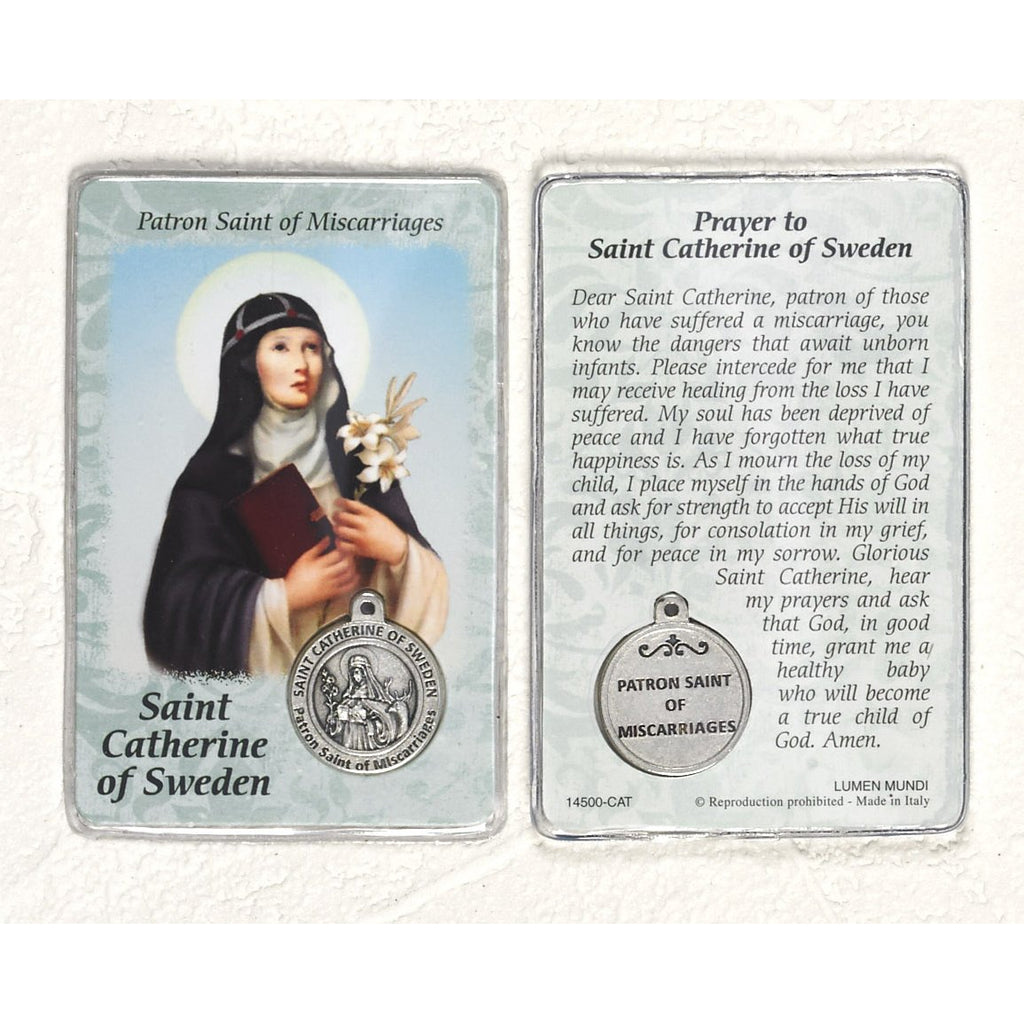 Healing Saint - St. Catherine of Sweden Card with Medal - Pack of 25