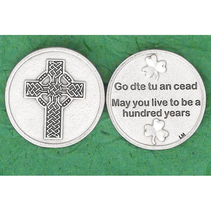 Irish token - Celtic Cross - May you live to be a hundred years - Pack of 25