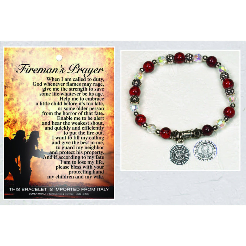 Firemen/ St Florian - Italian Stretch Bracelet with Prayer Card - Pack of 4